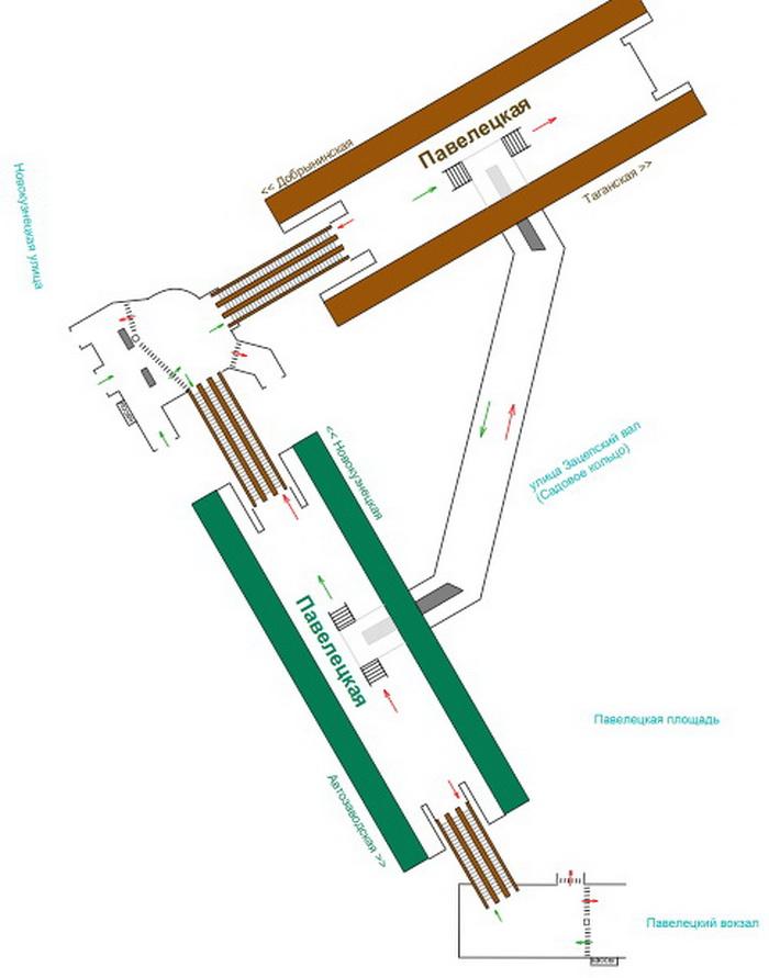 Схема станции метро Павелецкая