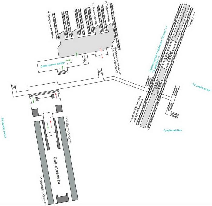 схема Савеловского вокзала